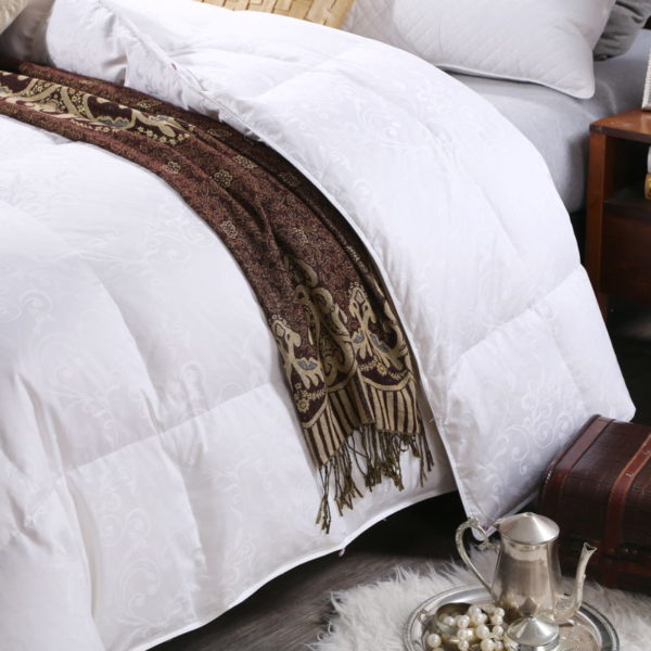 100 Cotton Satin Jacquard Duck Down Comforter Model 1 5 600x600 - High Quality Polyester White Duck Down Comforter - Model 1