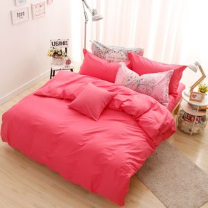 BYF-HS-ZhuHong Brief Solid Color Bedding Set