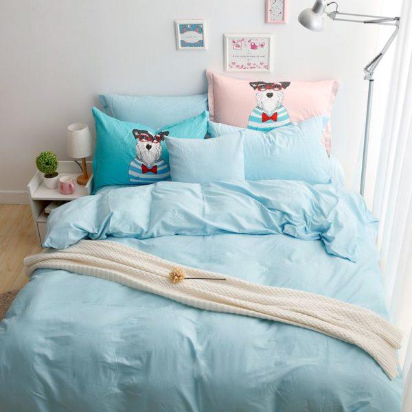 BYF-WZ-TianLan Brief Solid Color Bedding Set