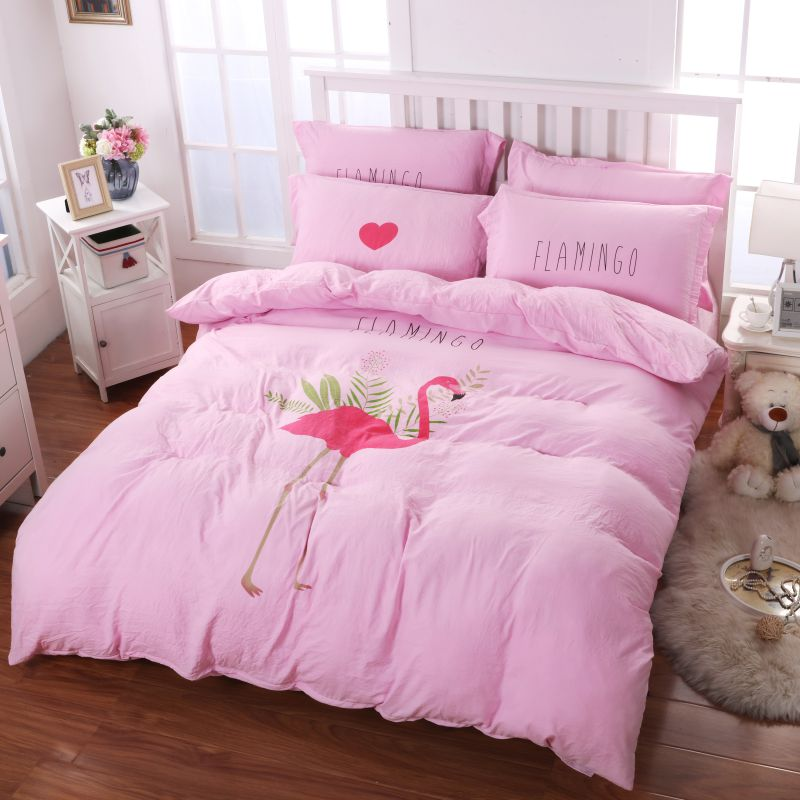 Washed Fabric Soft Polyester Bedding Set Model C D Ynth