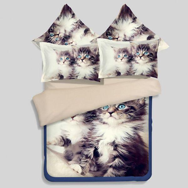 2 Blue Eyed Cats Printed Bedding Set 1