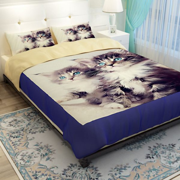 2 Blue Eyed Cats Printed Bedding Set 2 600x600 - 2 Blue Eyed Cats Printed Bedding Set