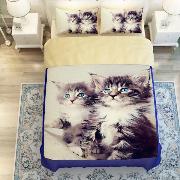 2 Blue Eyed Cats Printed Bedding Set 3