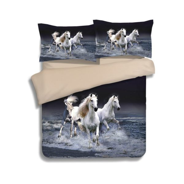 3 Majestic Horses Running Printed Bedding Set 1