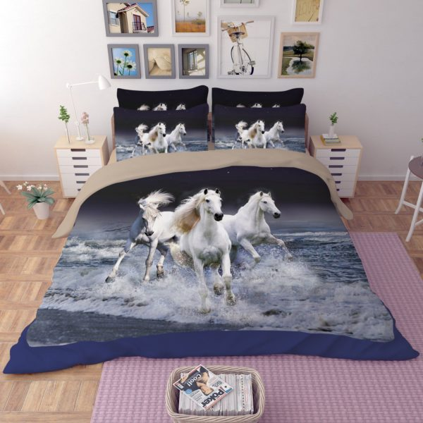 3 Majestic Horses Running Printed Bedding Set 2