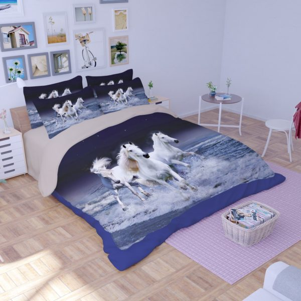 3 Majestic Horses Running Printed Bedding Set 3