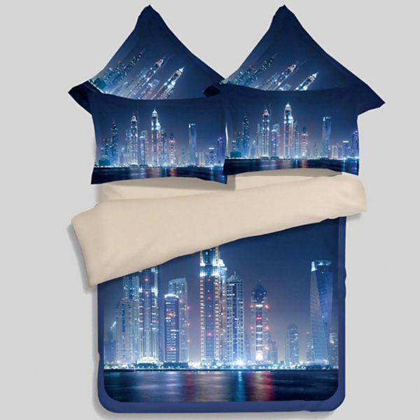 3D City Night Life Bedding Set