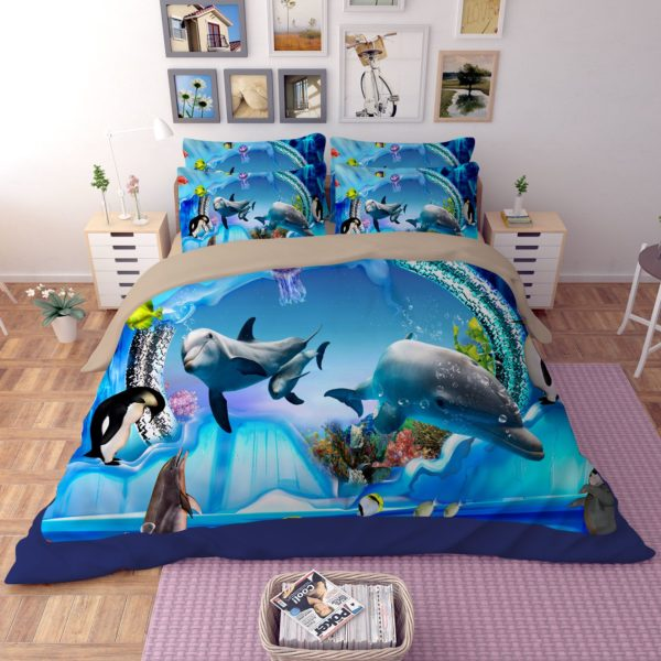 3D Dolphing World Bedding Set 1 600x600 - 3D Dolphing World Bedding Set