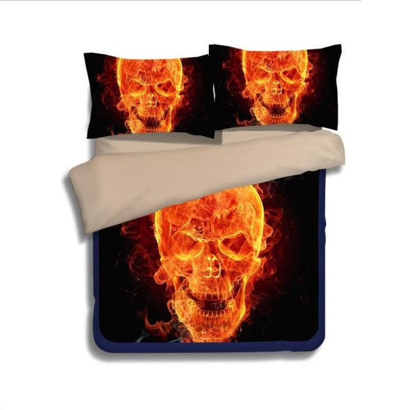 3D Flaming Skull printed bedding set