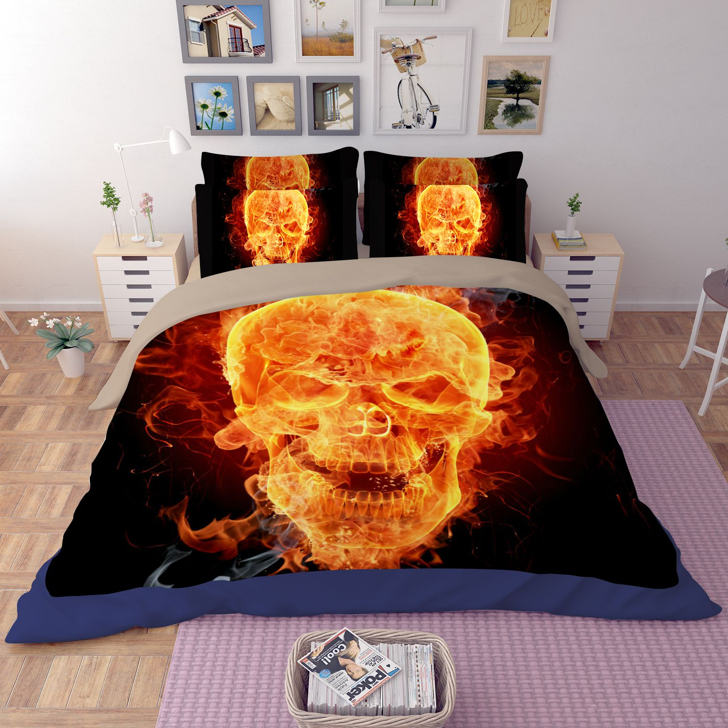 D Flaming Skull Printed Bedding Set Ebeddingsets