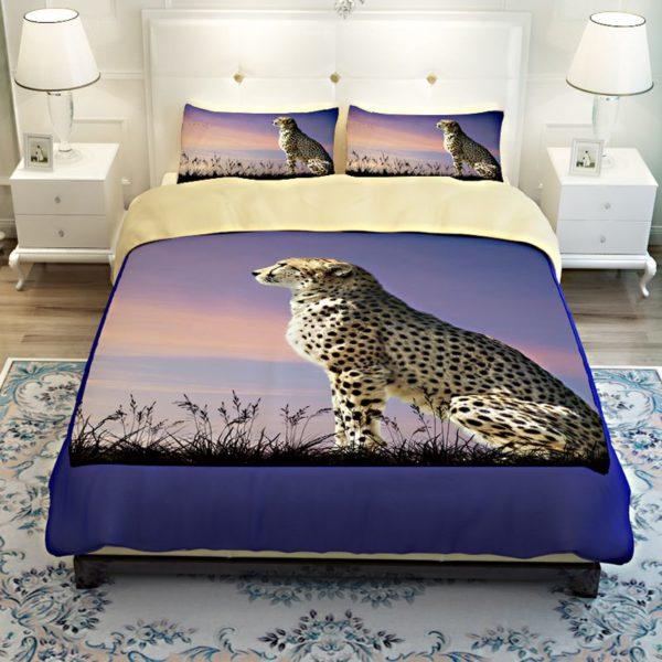 3D Golden Leopard Printed Bedding Set