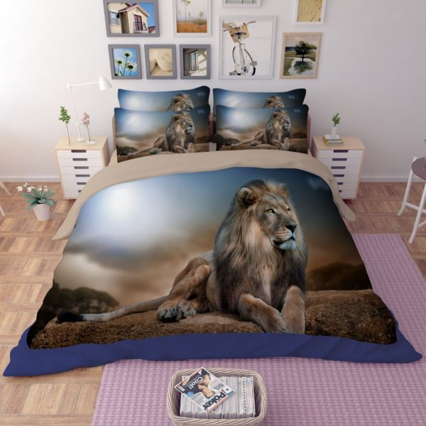 3D Mighty Lion Printed Bedding Set 1 600x600 - 3D Mighty Lion Printed Bedding Set