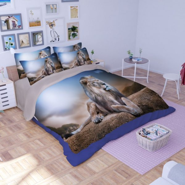 3D Mighty Lion Printed Bedding Set 2 600x600 - 3D Mighty Lion Printed Bedding Set
