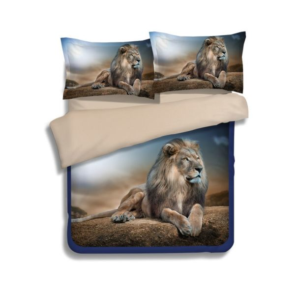 3D Mighty Lion Printed Bedding Set 4 600x600 - 3D Mighty Lion Printed Bedding Set