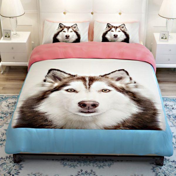 3D Siberian Husky Dog Bedding Sets 2 600x600 - 3D Siberian Husky Dog Bedding Sets