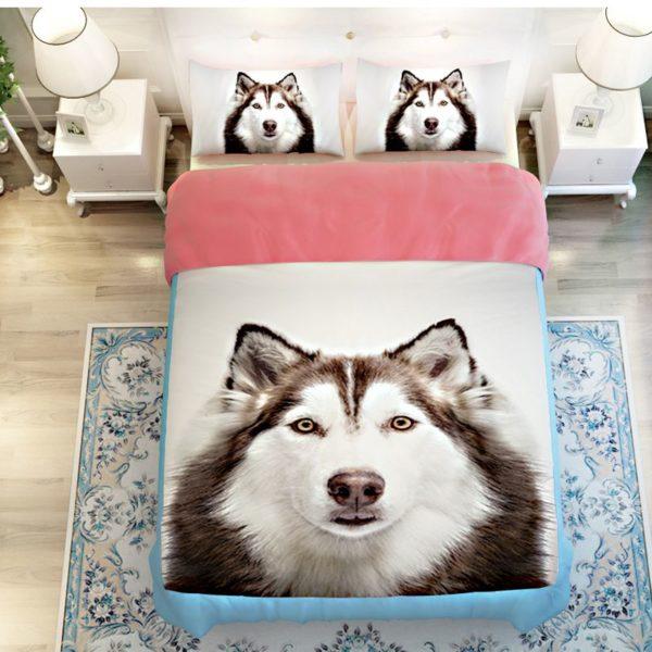 3D Siberian Husky Dog Bedding Sets 3 600x600 - 3D Siberian Husky Dog Bedding Sets