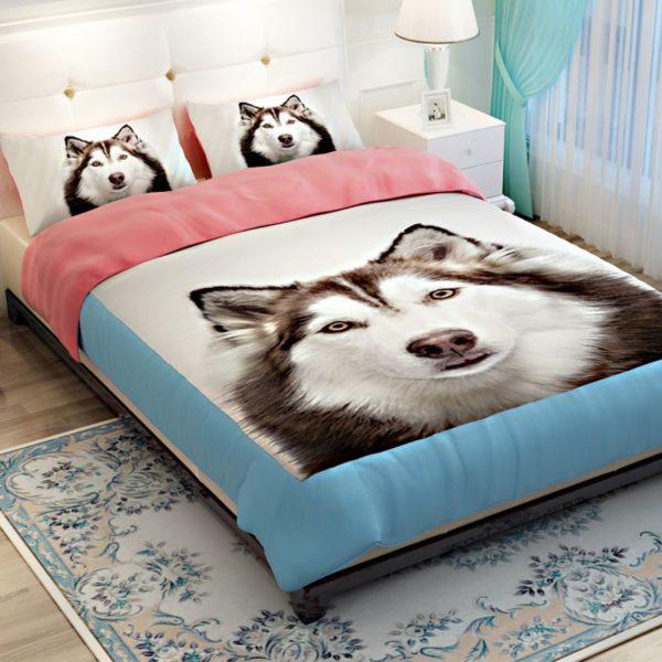 3D Siberian Husky Dog Bedding Sets 4 600x600 - 3D Siberian Husky Dog Bedding Sets