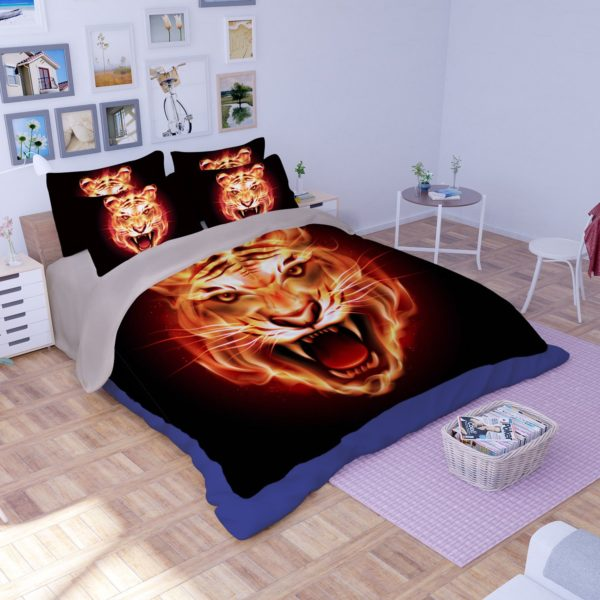 3D Stunning Flaming Tiger Face Printed Bedding Set