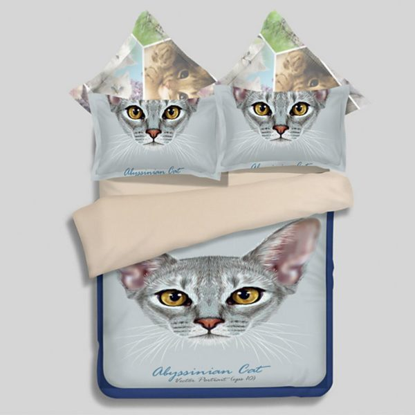 Abyssinian cat Face Printed Bedding Set 600x600 - Abyssinian cat Face Printed Bedding Set