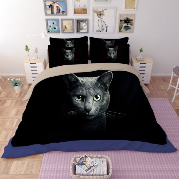 Adorable Grey Cat Face Printed Bedding Set 2 600x600 - Adorable Grey Cat Face Printed Bedding Set