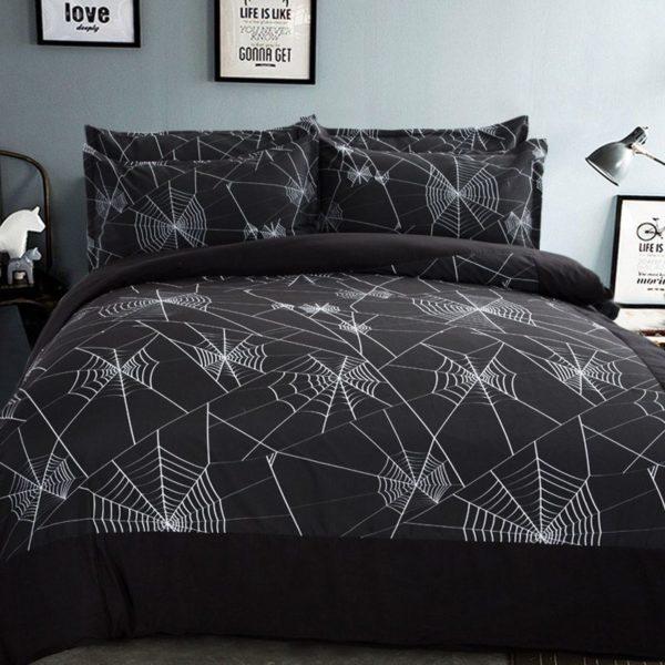 Amazing Spider Web Printed Black Bedding Set 2 600x600 - Amazing Spider Web Printed Black Bedding Set
