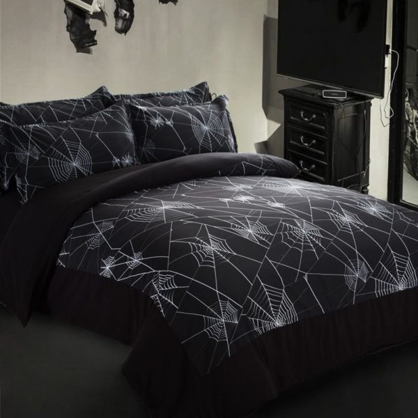 Amazing Spider Web Printed Black Bedding Set 3 600x600 - Amazing Spider Web Printed Black Bedding Set