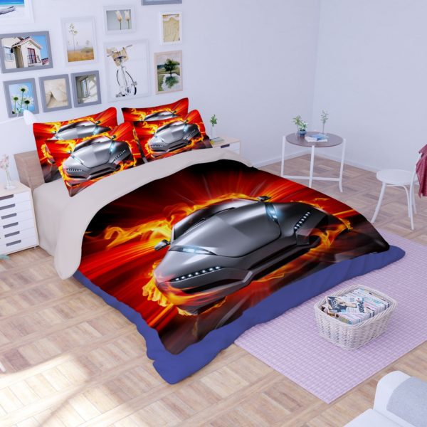 Animated Fire Car Printed Bedding Set 1