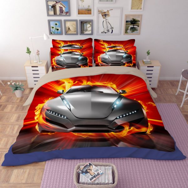 Animated Fire Car Printed Bedding Set 3