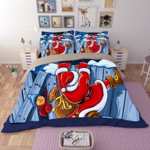 Animated Santa Claus Printed Bedding Set
