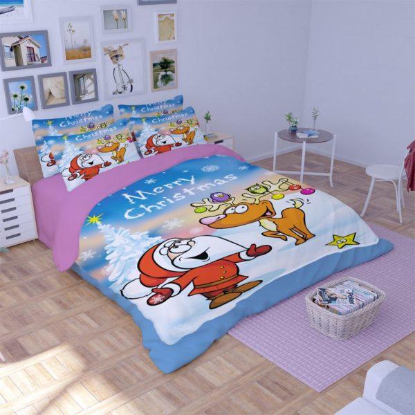Animated Santa Claus Reindeer Bedding Set 1