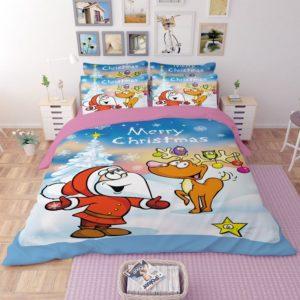 Animated Santa Claus & Reindeer Bedding Set