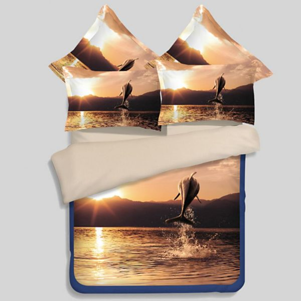 Beautiful Leaping Dolphin Printed Bedding set 1 600x600 - Beautiful Leaping Dolphin Printed Bedding set