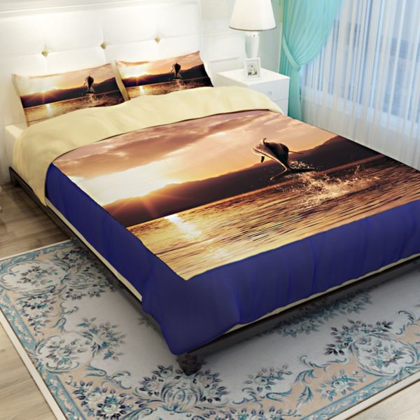 Beautiful Leaping Dolphin Printed Bedding set 2 600x600 - Beautiful Leaping Dolphin Printed Bedding set