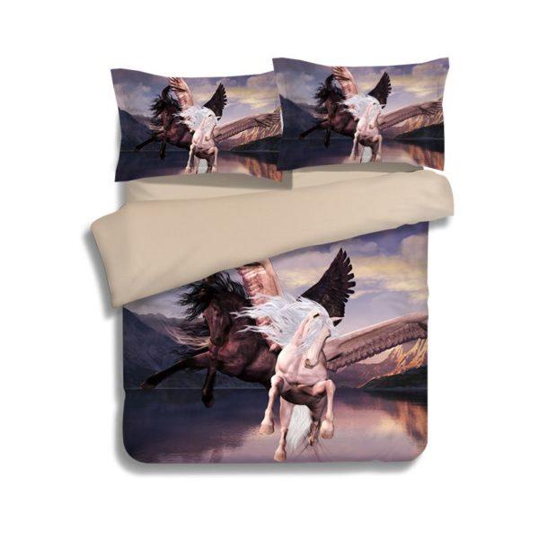 Black White Flying Horses Printed Bedding Set 1 600x600 - Black & White Flying Horses Printed Bedding Set