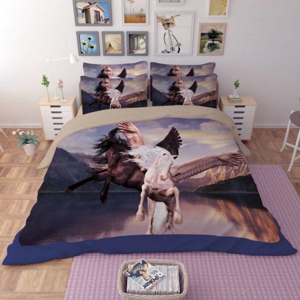 Black White Flying Horses Printed Bedding Set 2 600x600 - Black & White Flying Horses Printed Bedding Set