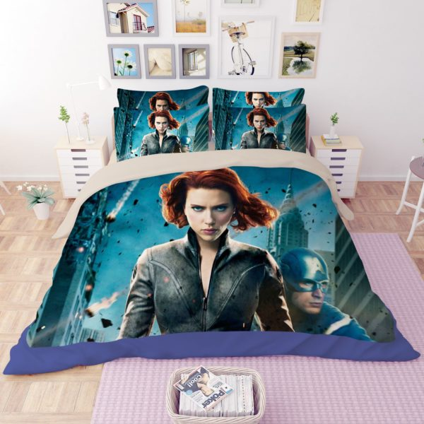 Black Widow and Captain America Bedding Set 1 600x600 - Black Widow and Captain America Bedding Set