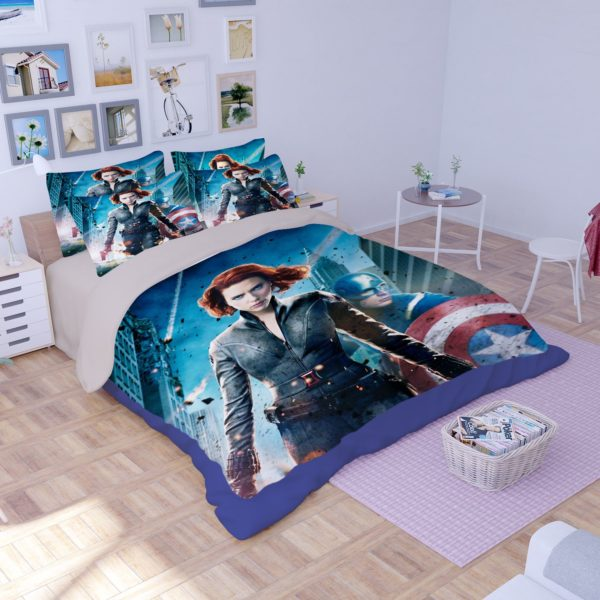 Black Widow and Captain America Bedding Set 2 600x600 - Black Widow and Captain America Bedding Set