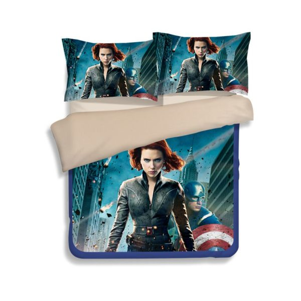 Black Widow and Captain America Bedding Set 4 600x600 - Black Widow and Captain America Bedding Set