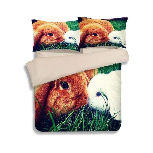 Brown White Rabbit Love Printed Bedding Set 2 600x600 - Brown & White Rabbit Love Printed Bedding Set