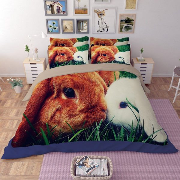 Brown White Rabbit Love Printed Bedding Set 3
