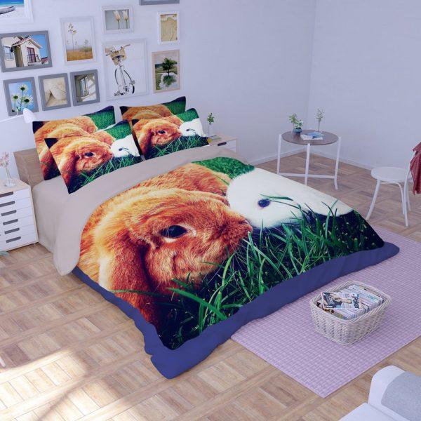 Brown White Rabbit Love Printed Bedding Set 4