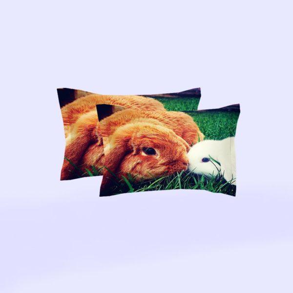 Brown White Rabbit Love Printed Bedding Set 5