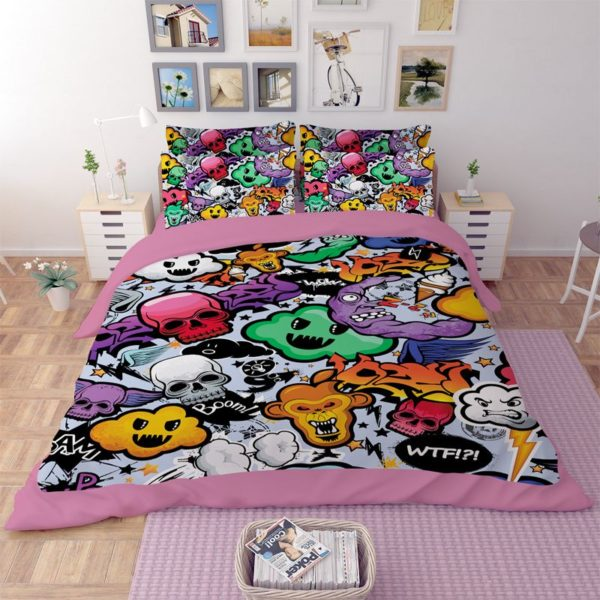 COLORFUL SKULLS PRINTED BEDDING SET 1 600x600 - COLORFUL SKULLS PRINTED BEDDING SET