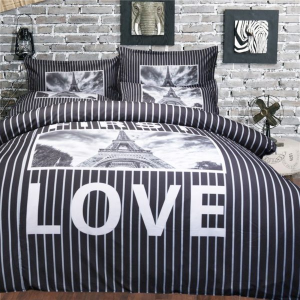 Charming Eifel Tower First Love Printed Bedding set 7 600x600 - Charming Eifel Tower & First Love Printed Bedding set