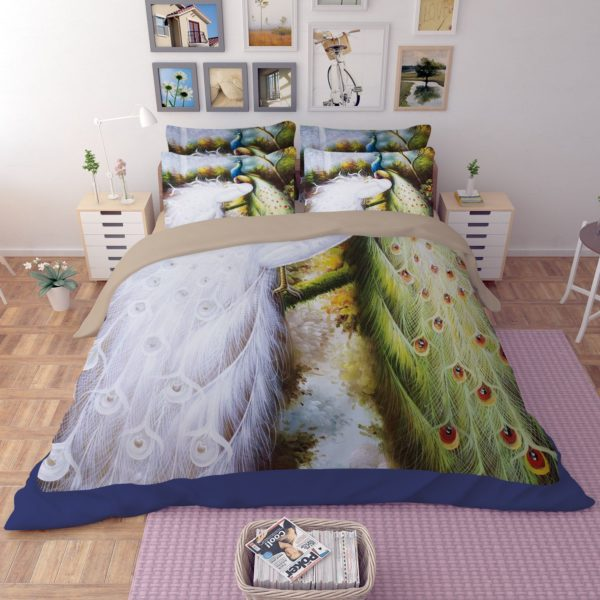 Colorful Peacock Printed Bedding Set 2 600x600 - Colorful Peacock Printed Bedding Set