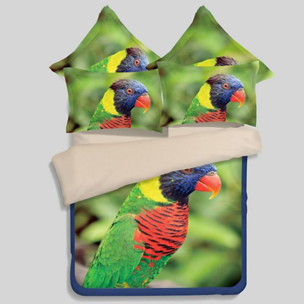Colourful Parrot Printed Bedding Set 1 600x600 - Colourful Parrot Printed Bedding Set