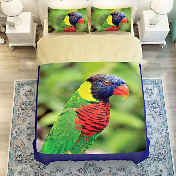 Colourful Parrot Printed Bedding Set 5 600x600 - Colourful Parrot Printed Bedding Set