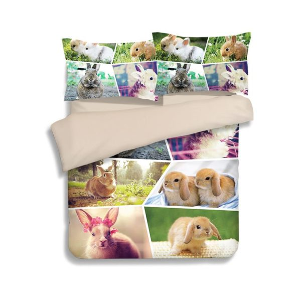 Colourful Rabbit Pictures Printed Bedding Set 2 600x600 - Colourful Rabbit Pictures Printed Bedding Set