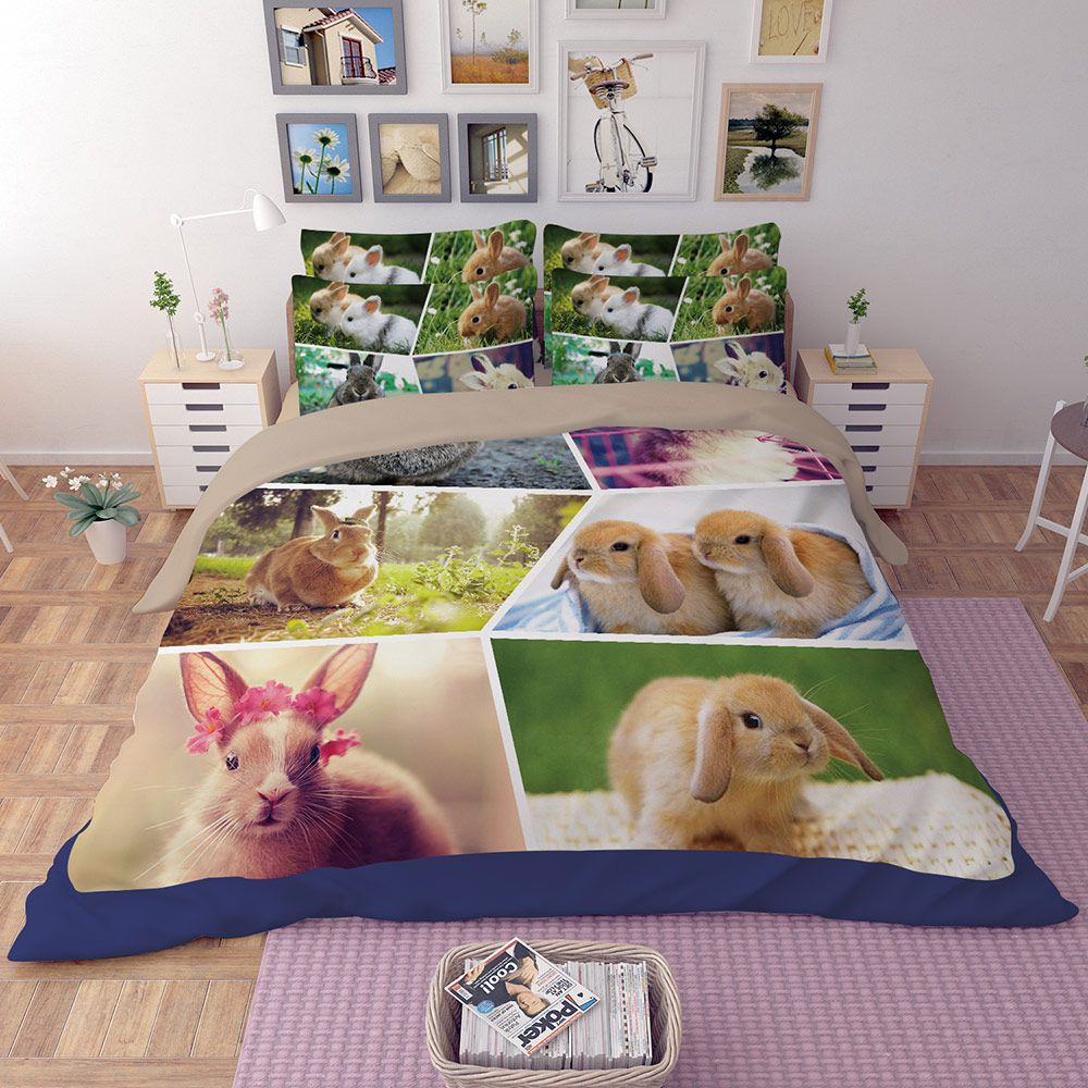 Colourful Rabbit Pictures Printed Bedding Set
