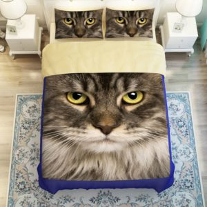 Cute Grey Cat Face Printed Bedding Set 2 300x300 - Cute Grey Cat Face Printed Bedding Set